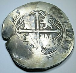 1500's Spanish Mexico Silver 8 Reales Philip Ii Colonial Dollar Pirate Cob Coin