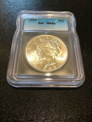 1923 Peace Us Mint Silver Dollar, Graded Ms62 By Icg, Lots Of Luster, Nice Coin
