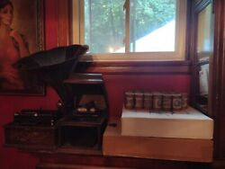 Two Thomas Edison Phonographs With 116 Cylinders And Horn
