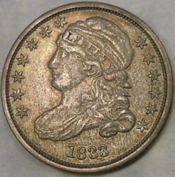 1833 Capped Bust Silver Dime Very Appealing Toning Sharp Drapery Feathers And Hair