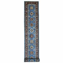 3and039x26and0398 Super Kazak Blue Extremely Durable Hand Knotted Xl Runner Rug R68281