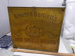 Vintage Bower And Bartlett's Boston Tin Country Store Coffee Bin Counter Display
