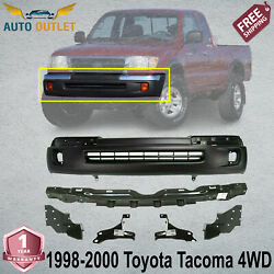 Front Primed Bumper + Brackets And Reinforcement For 1998-2000 Toyota Tacoma 4wd