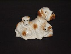 Vintage Terrier Dog with Puppy Figurine Made in Japan