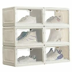 Shoe Storage Box,packs Large Plastic Stackable Display Shoe Box With Lip 6
