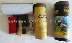 Lot Vintage 2pc Victor W Content And Western Auto Tire Cold Patch Repair Kit Can