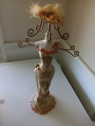 21 Jewelry Necklace Holder Display Stand Mannequin Lady In White And Pink Dress