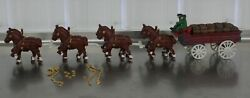 Vintage Cast Iron Beer Wagon 2 Drivers Dog 28 Kegs Clydesdale Budweiser