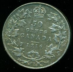 1916 Canada King George V Sterling Silver Fifty Cent Piece F209