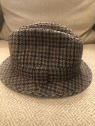 Vintage Failsworth Mens Pure Wool Hat Houndstooth Size 7 3/8 Made In England Euc