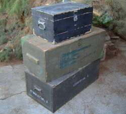 Lot-3 Vtg. Us Military Army Surplus Wooden Foot Locker Trunk Chest Wood Ammo Box