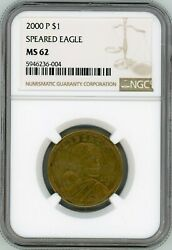 2000-p Sacagawea 1 One Dollar Coin Speared Eagle Wounded Eagle Ngc Ms-62