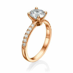 1.50 Ct Certified Round Cut Diamond Engagement Ring 18k Rose Gold D/vs1
