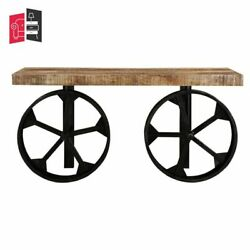 Made To Order Indian Inspired Transport Wooden And Wheel Console Table