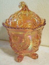 Vintage Iridescent Carnival Marigold Orange Glass Footed Candy Dish Bowl W Lid