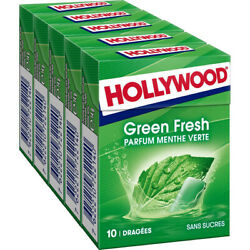 Hollywood Green Fresh - Chewing-gum Andagrave La Menthe Verte 5 X 14 G