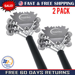 Stainless Steel Bbq Grill Cleaning Brush Long Handle Cleaner Tool New 2 Pack