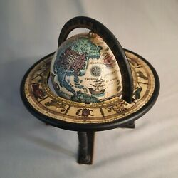 Miniature Astrological Globe Small Table Top Zodiac Map Rotating Degrees