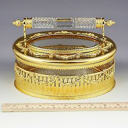8.5 Inch Antique French Clear Crystal And Gilt Bronze Trinket Jewelry Casket Box