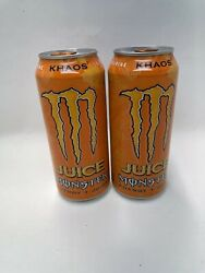 2 Can Monster Energy Khaos Juice 16 Oz Each 🍊discontinued