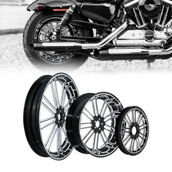 21/23/26/30and039and039 Front 18and039and039 Rear Wheel Hub Rim Belt Pulley Fit For Road King 08-21