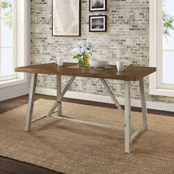 Farmhouse Kitchen Dining Table Rustic Country Distressed Metal Wood Furniture