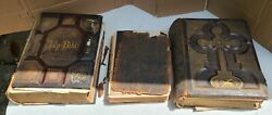 3 Antique Holy Bibles Douay Latin Vulgate 1872 Illustrated