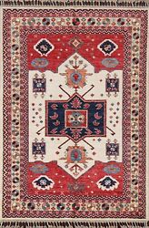 Vegetable Dye Ivory Heriz Serapi Geometric Oriental Area Rug Hand-knotted 3and039x5and039