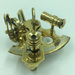 Vintage Nautical Aged Brass Sextant 4 Functional Maritime Decor For Captain