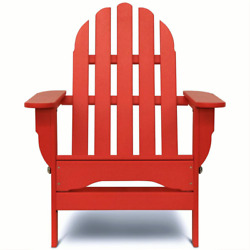 Patio Adirondack Chair 300 Lb. Weight Capacity Plastic Frame Bright Red