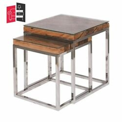 Industrial Live Edge Solid Wood Nested Side Table Set Of 2 Made To Order