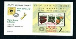 World Stamp Exhibition New Zealand 1990 Cocos Island Fdc First Day Cover