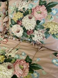 Cynthia Pink Floral Queen Comforter, Bedskirt And 2 Std Shams