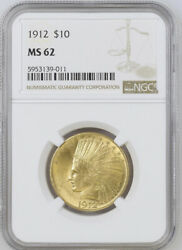 1912 Ngc Ms62 10 Gold Indian Stunning Luster Pq Coin