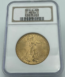 1915-s Ngc Ms64 20 Gold Saint Gaudens Double Eagle Incredible Luster
