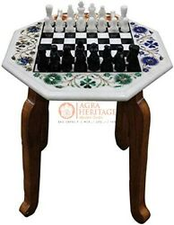 Chess Set White Marble Handmade Chess Set With Chess Pieces Multi Stone Art Deco