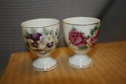 Japanese Egg Cups, Bone China With Floral Pattern