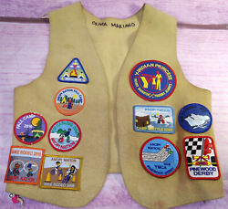 Anopi Nation Ymca Indian Princess Camp Chipotle Leather Vest 21 Patches Calif