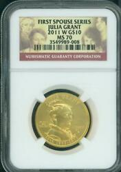 2011-w 10 Gold Commemorative 1/2 Oz. First Spouse Julia Grant Ngc Ms70 Ms-70