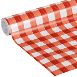 Red White Gingham Checks Checkered Vinyl Contact Paper Liner Wall Self Adhesive