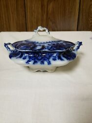 Flow Blue Johnson Brothers Florida Covered Vegetable Bowl 7 Gold Accents
