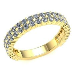 1.4 Ct Round Diamond Womenand039s Classic 2row Eternity Band With Sizing Bar 18k Gold