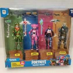 New Fortnite Video Game Squad Mode Action 4 Figure Set 5 Weapons Tool Epic Games