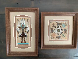 Two New Navajo Sand Paintings Approx 7x7 And 6x9 Handmade Beautiful