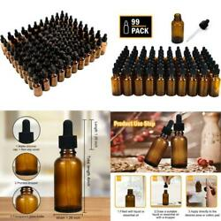 Yoleshy 1oz Glass Dropper Bottle,99 Pack Amber Glass Bottles With Glass Droppers