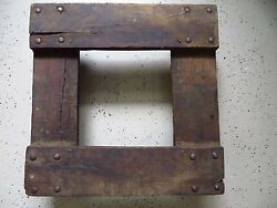 Vintage Factory Industrial Flat Dolly Barrel Cart Cast Iron Wheels 20.5 Square