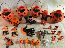 Vintage Plastic Halloween Decorations And Candy Holders - Rosbro