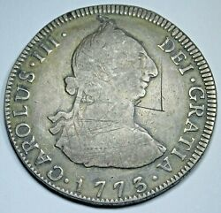 1773 Guatemala Silver 4 Reales Antique Spanish Colonial Old 1700's Pirate Coin