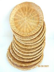 10 Wicker Plate Holders, Woven, Vintage Boho Retro Summer Party Outdoor Dining