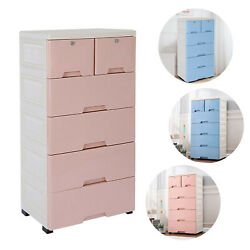 Modern 6-drawers Chest Dresser Storage Plastic Cabinet Collection Home Furniure